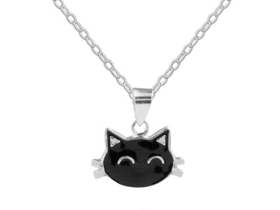 Sterling Silver Black Cat Halloween Enamel Jewellery Pendant And Chain  Set
