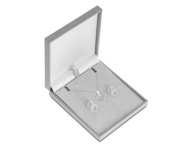 Sterling Silver Valentines Day    Heart Design Earrings And Pendant  Jewellery Gift Set
