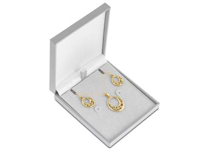 9ct Yellow Gold Valentines Day    Filigree Heart Drop Earrings And   Pendant Jewellery Gift Set