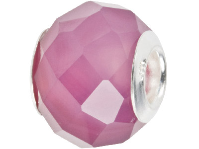 Agate Charm Bead Faceted Purple With Silver Insert