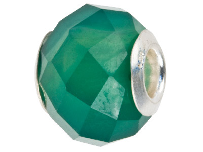 Agate Charm Bead Faceted Green With Silver Insert
