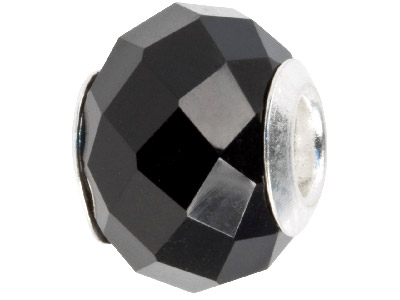 Agate Charm Bead Faceted Black With Silver Insert