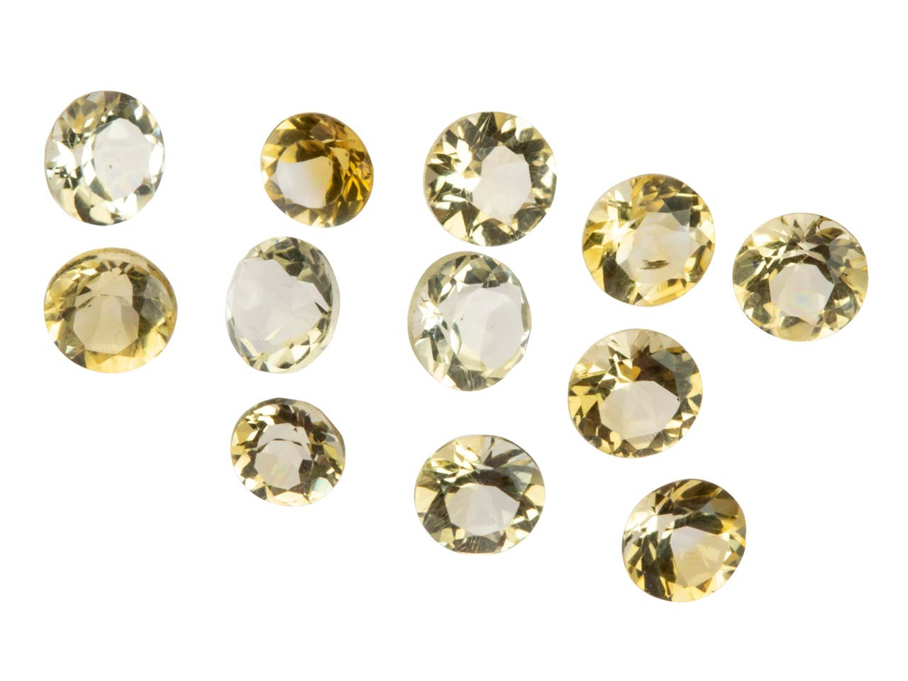Citrine, Round, 1.5 To 3.5mm Mixed Sizes, Pack of 12,