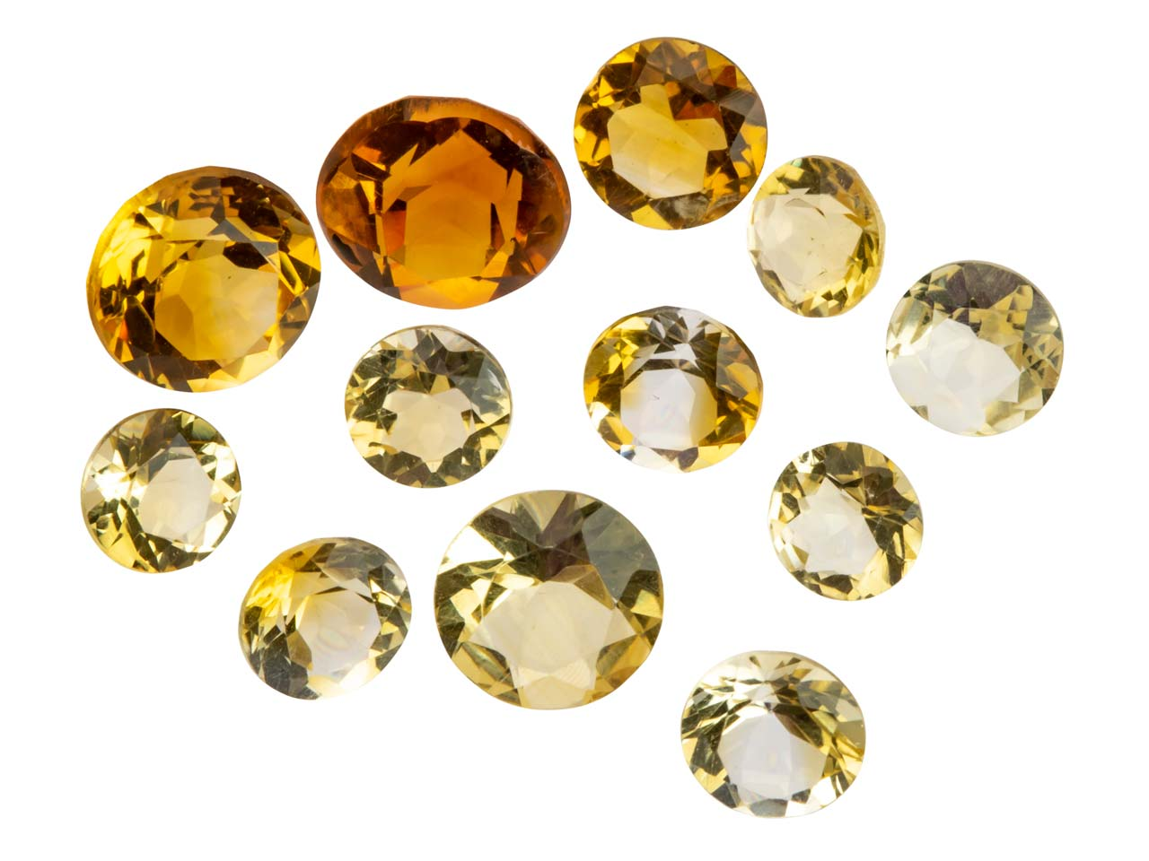 Citrine, Round, 3mm+ Mixed Sizes,  Pack of 12,