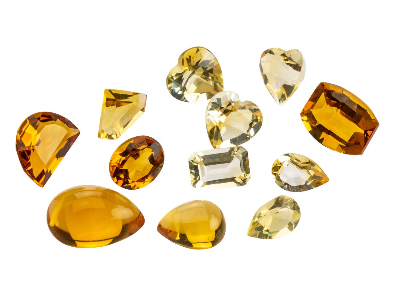 Citrine, Mixed Shapes, Pack of 12,