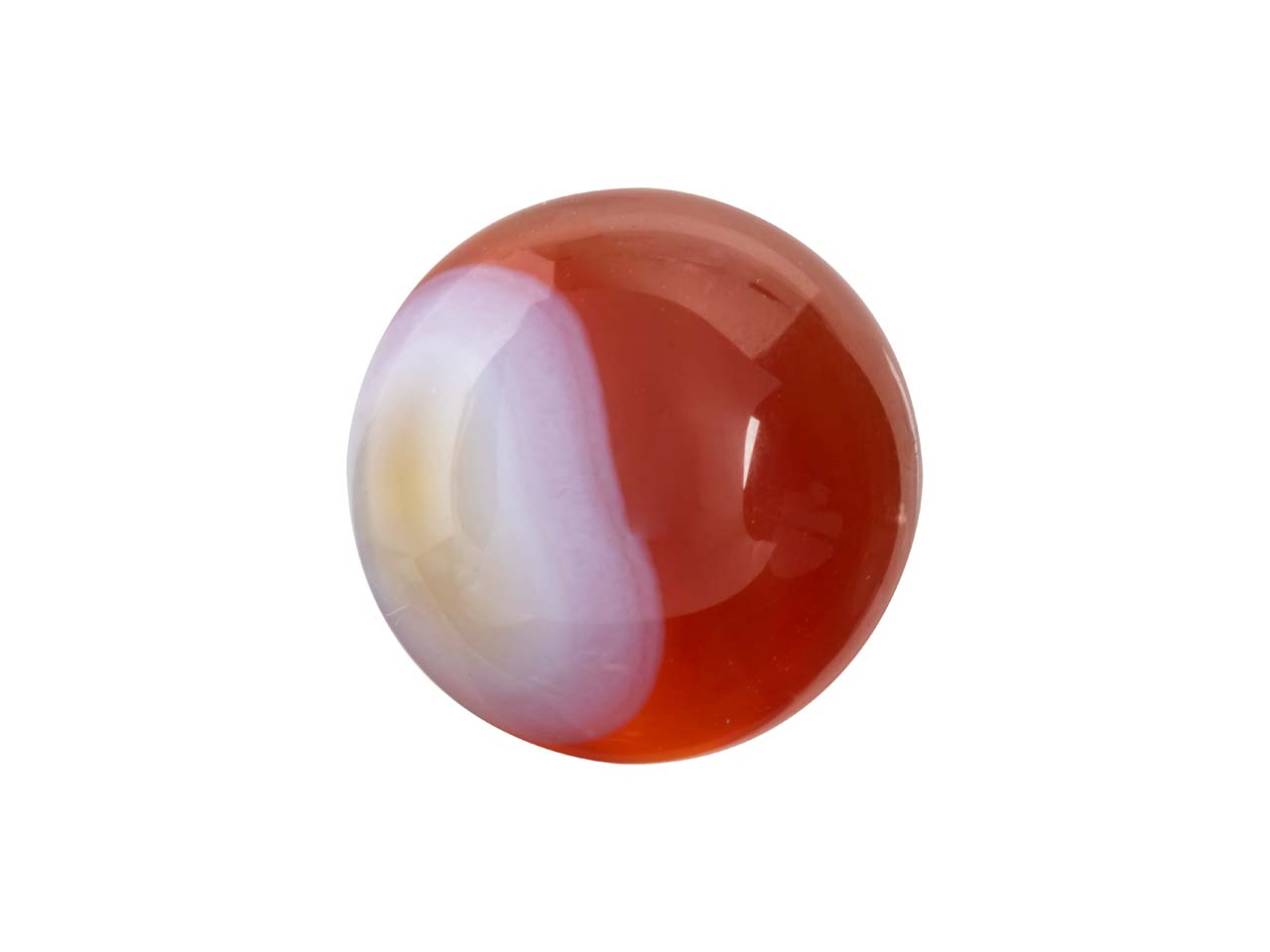 Carnelian Red And White Stripe     Round Cabochon 10mm