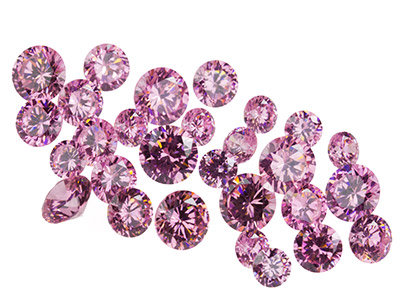 Pink Cz, Round, 4,5,6mm, Pack of 28