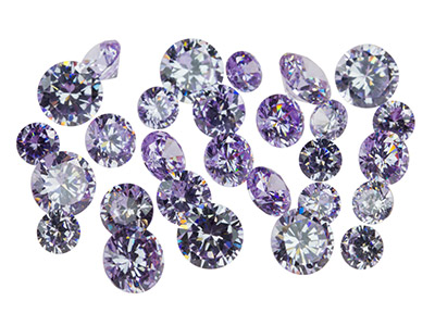 Lilac Cz, Round, 4,5,6mm,          Pack of 28