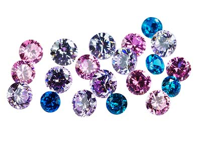 Mixed Colour Cz, Round, Pack of 20 Various Sizes
