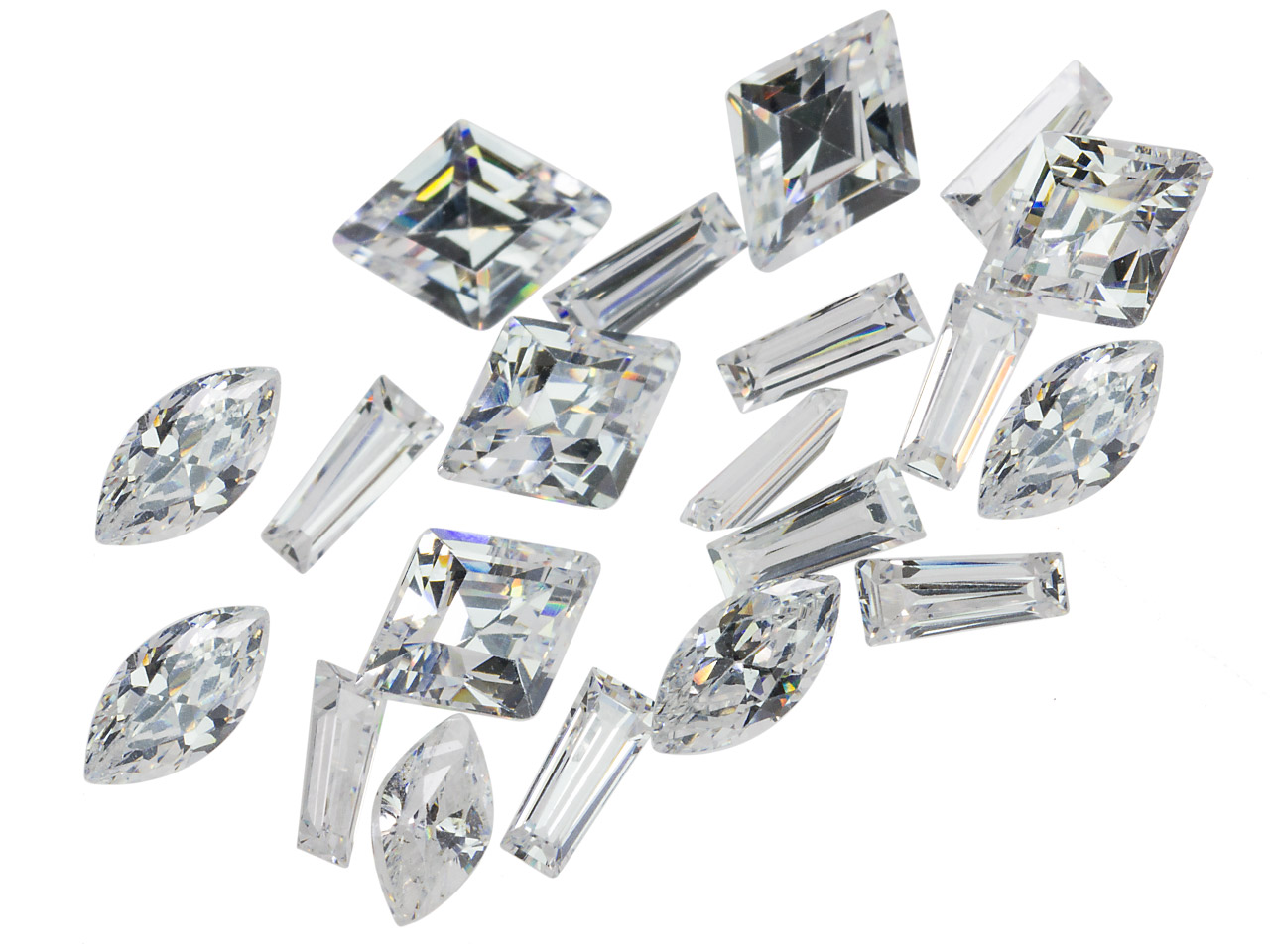 White Cz, Mixed Shapes, Pack of 20