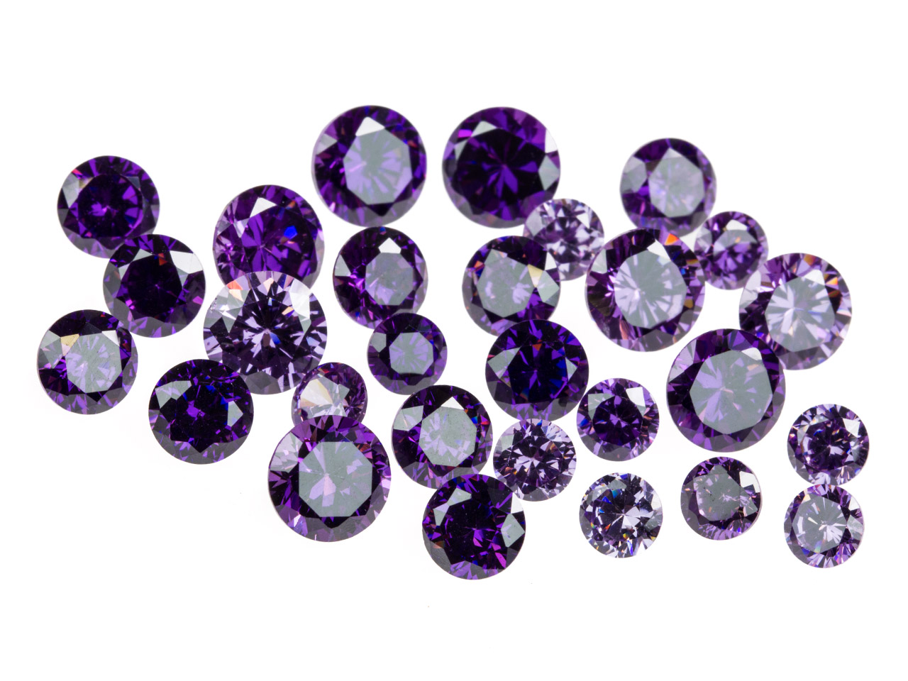 Amethyst Coloured Cz, Round,       4,5,6mm, Pack of 28