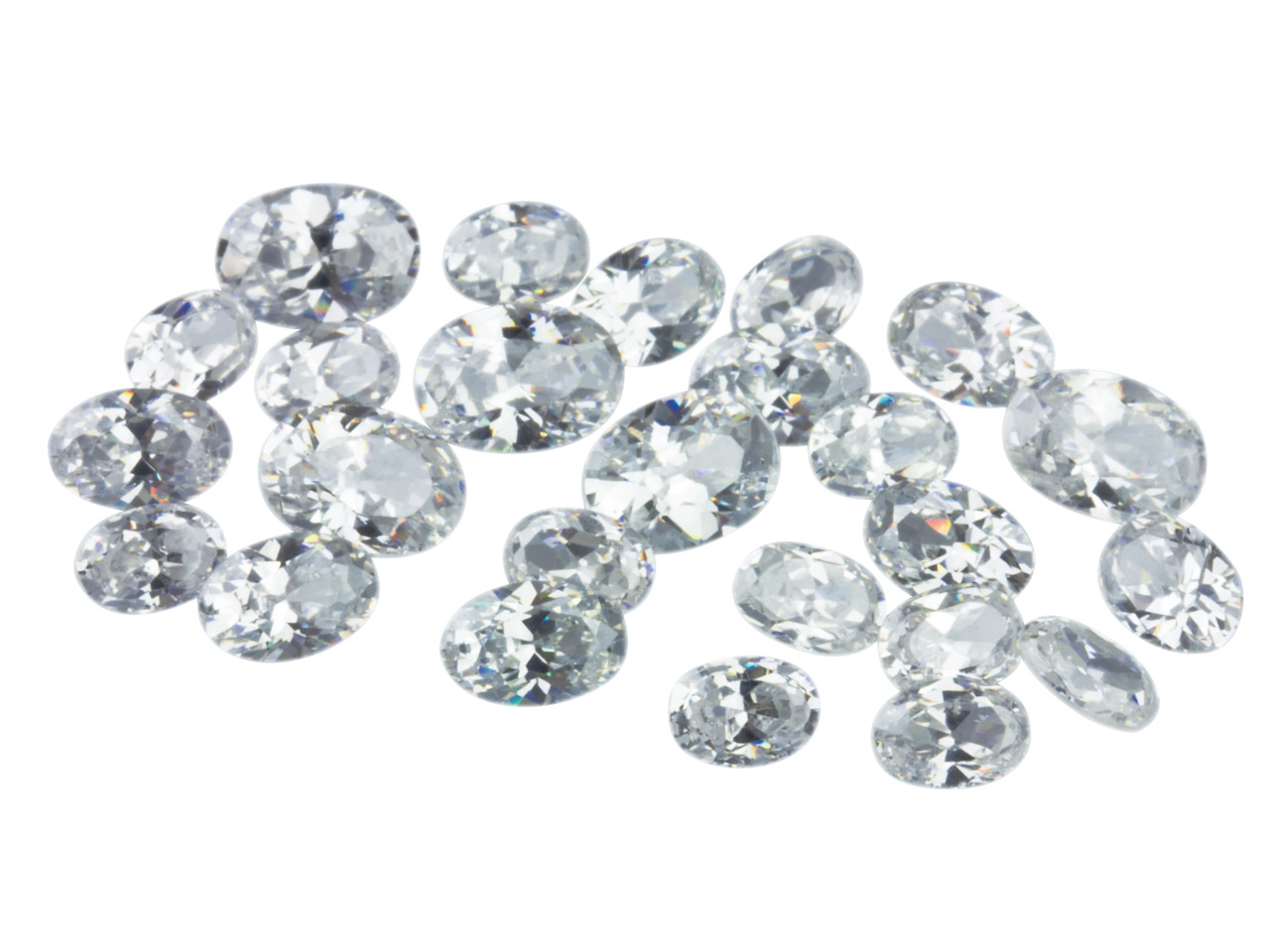 White Cz, Oval Mixed Sizes 5,6,     7mm, Pack of 25 Pmc Safe, Sizes May Vary Slightly