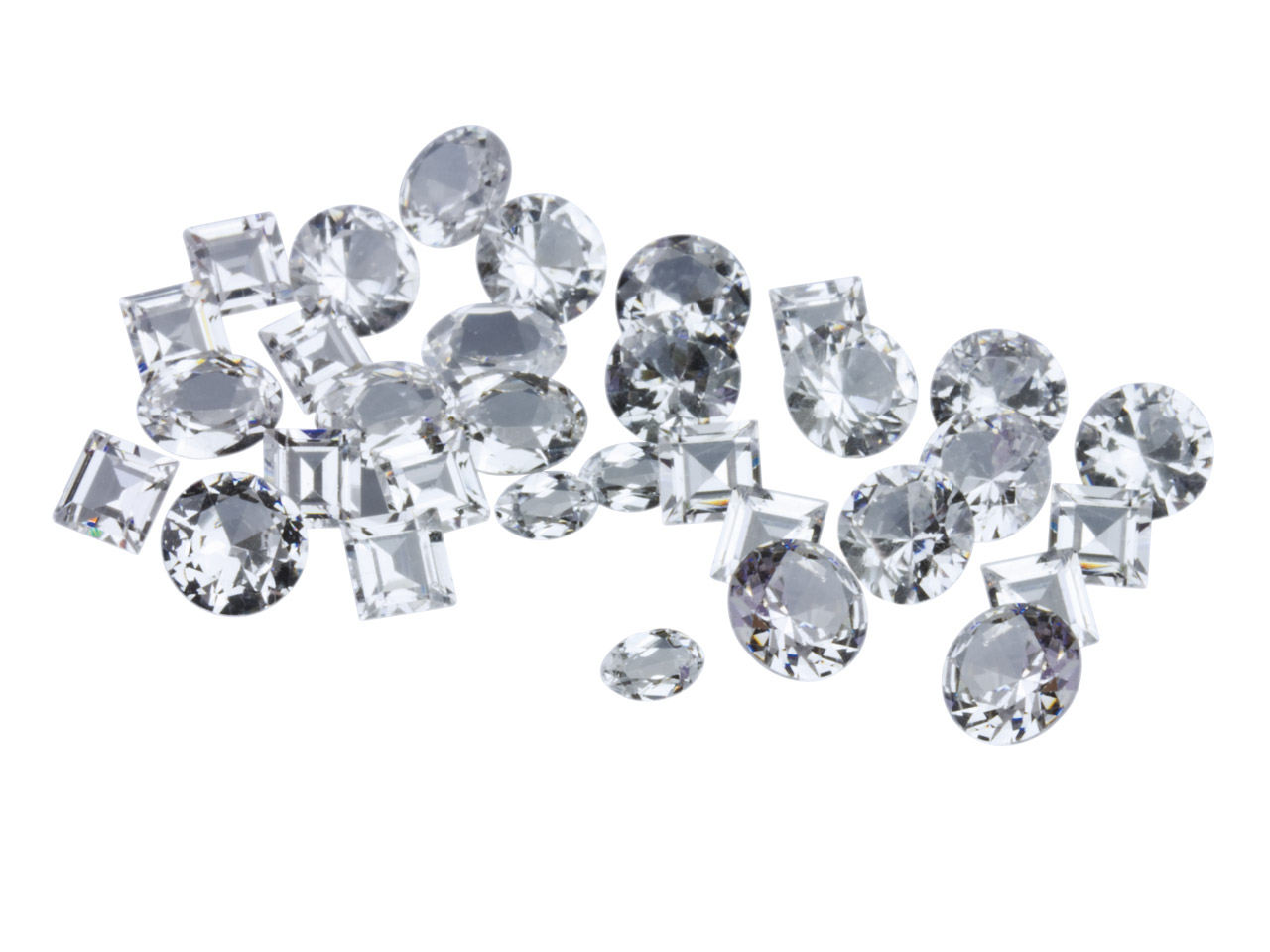 White Cz, Mixed Shapes, Pack of 25 Pmc Safe, Sizes And Shapes Will    Vary Slightly