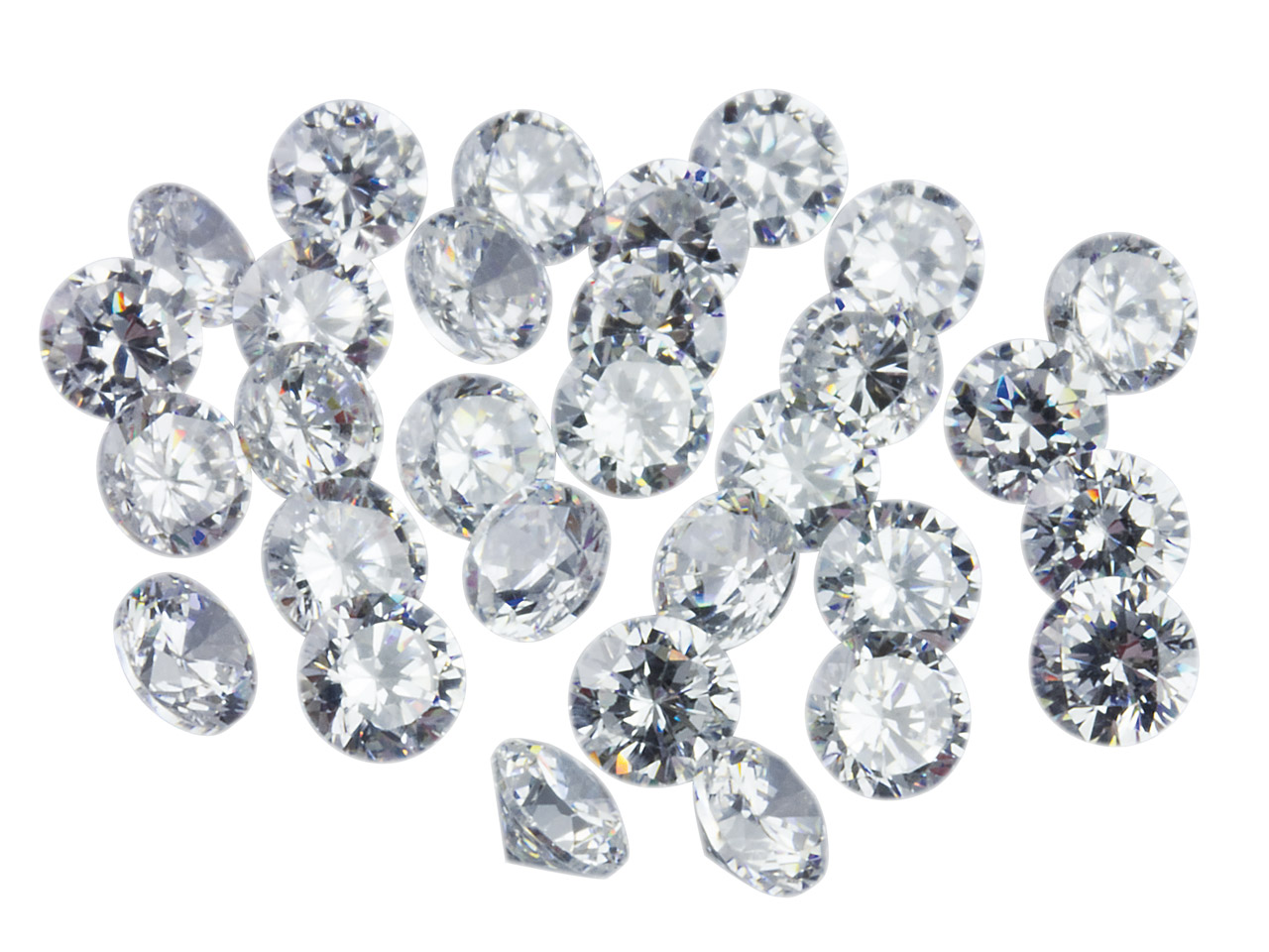 White Cz, Round 2.75mm, Pack of 50, Sizes May Vary Slightly