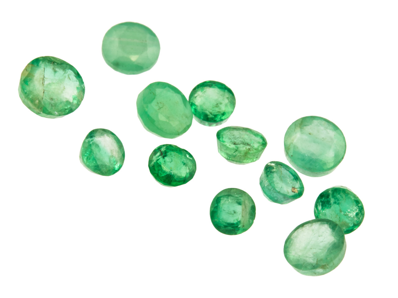 Emerald, Round, 3mm+ Mixed Sizes,  Pack of 12,