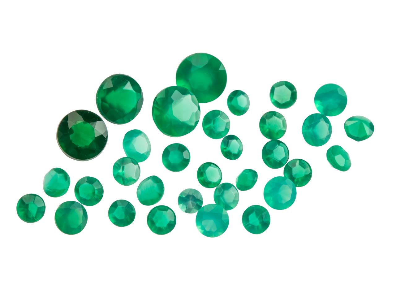 Green Agate, Round, 1.5 To 3.5mm   Mixed Sizes, Pack of 30