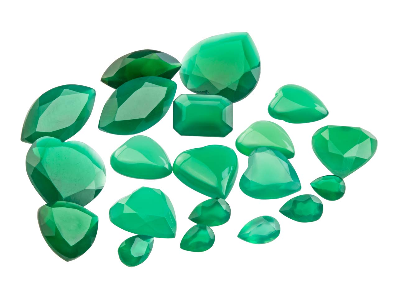 Green Agate, Mixed Shapes,         Pack of 20