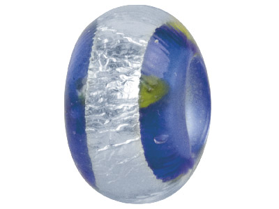 Murano Style Glass Charm Beads Dark Blue With Silver Foil Band Andyellow Accent