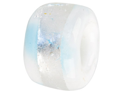 Murano Style Glass Charm Bead White With Light Blue  Silver Foil Decoration