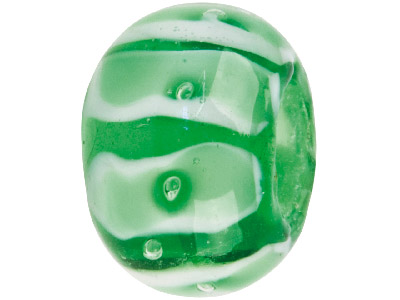 Murano Style Glass Charm Beads Light Green With White Stripes
