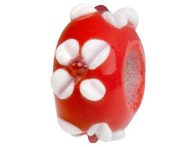 Murano Style Glass Charm Beads Red With White Flower Design