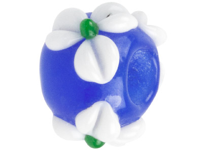 Murano Style Glass Charm Beads Blue With White Flower Design