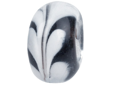 Murano Style Glass Charm Beads Black With White Swirl Design