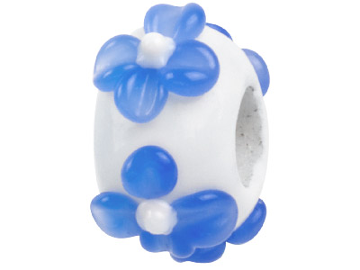 Murano Style Glass Charm Beads White With Blue Flower Design