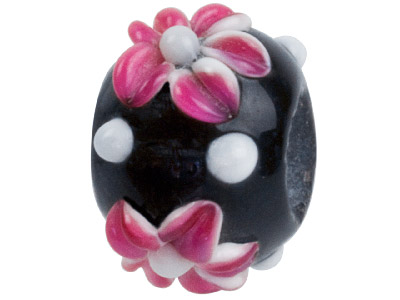Murano Style Glass Charm Beads Black With Pink Flower Design