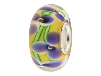Glass-Charm-Bead,-Yellow-With-Blue-Fl...