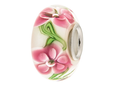 Glass-Charm-Bead,-White-With-Pink--Fl...