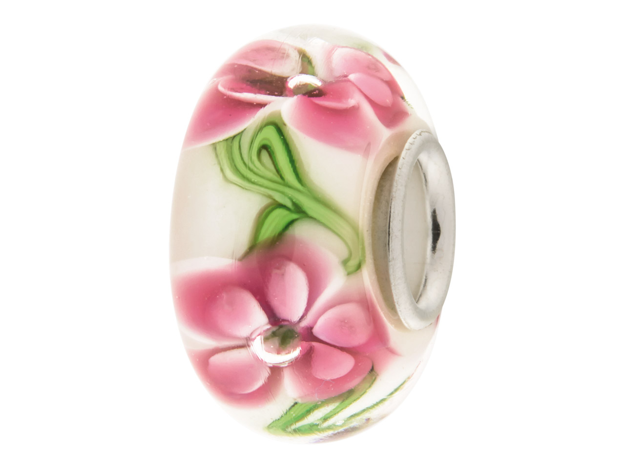 Glass Charm Bead, White With Pink  Flowers, Sterling Silver Core