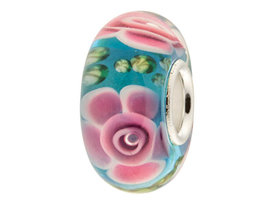 Glass Charm Bead Blue With Pink   Flowers Sterling Silver Core
