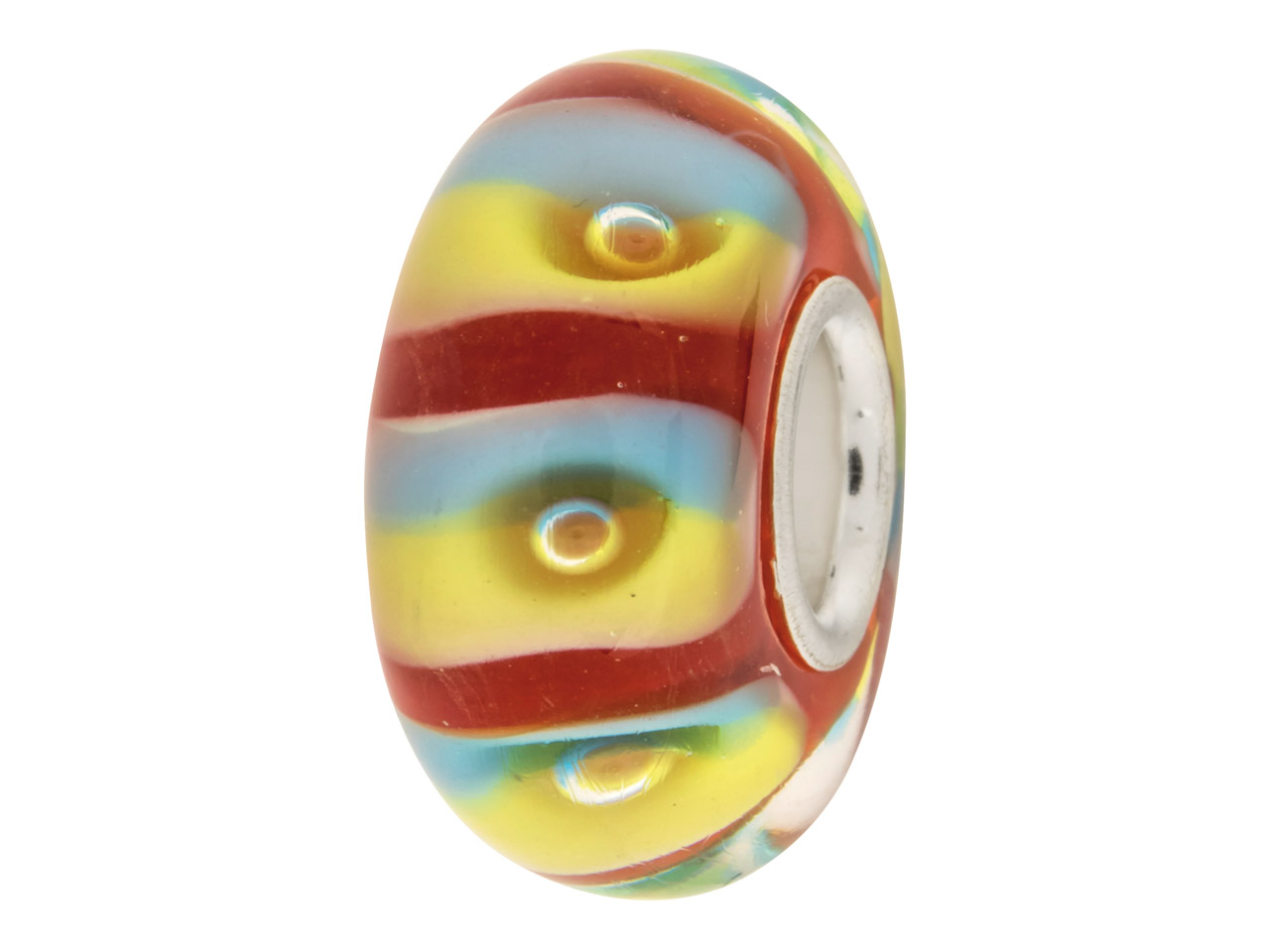 Glass Charm Bead, Red With Blue And Yellow Stripes And Bubbles,         Sterling Silver Core