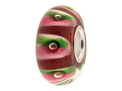Glass Charm Bead, Red With Green   And Pink Stripes, And Bubbles,     Sterling Silver Core