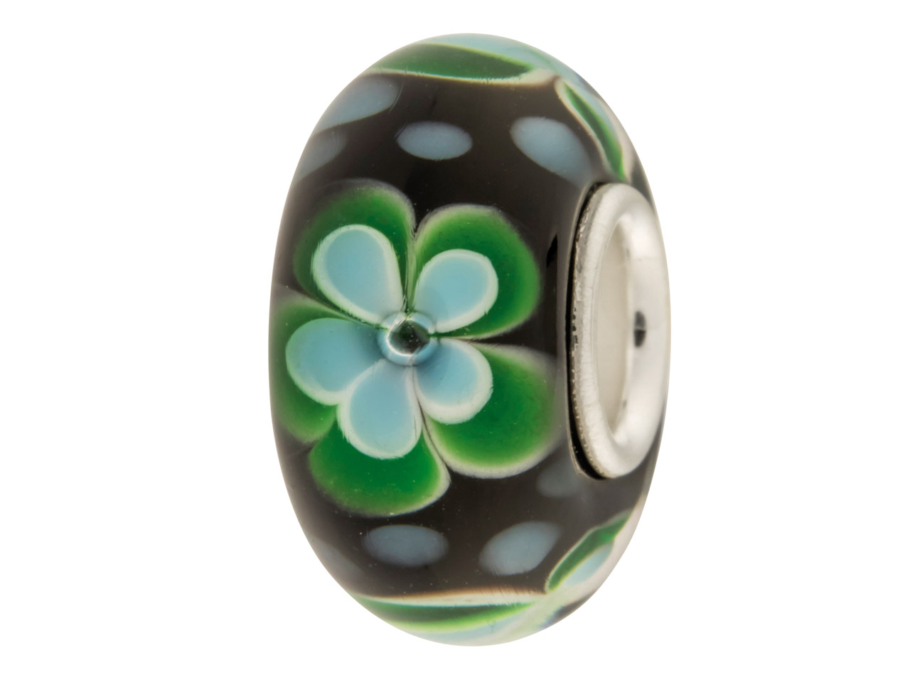 Glass Charm Bead, Black With Blue  And Green Flowers, And Blue Dots,  Sterling Silver Core