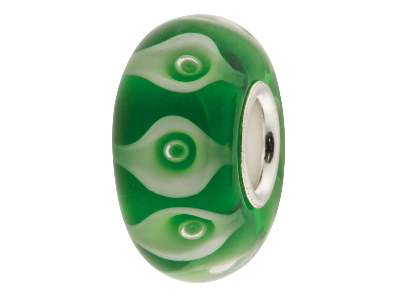 Glass Charm Bead, Green Circles    With Bubbles, Sterling Silver Core