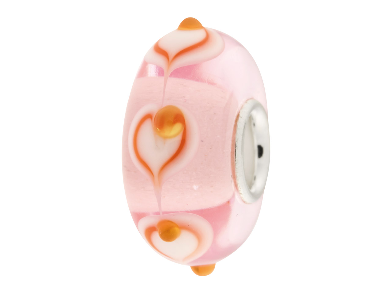 Glass Charm Bead, Pink With Orange Hearts, Sterling Silver Core