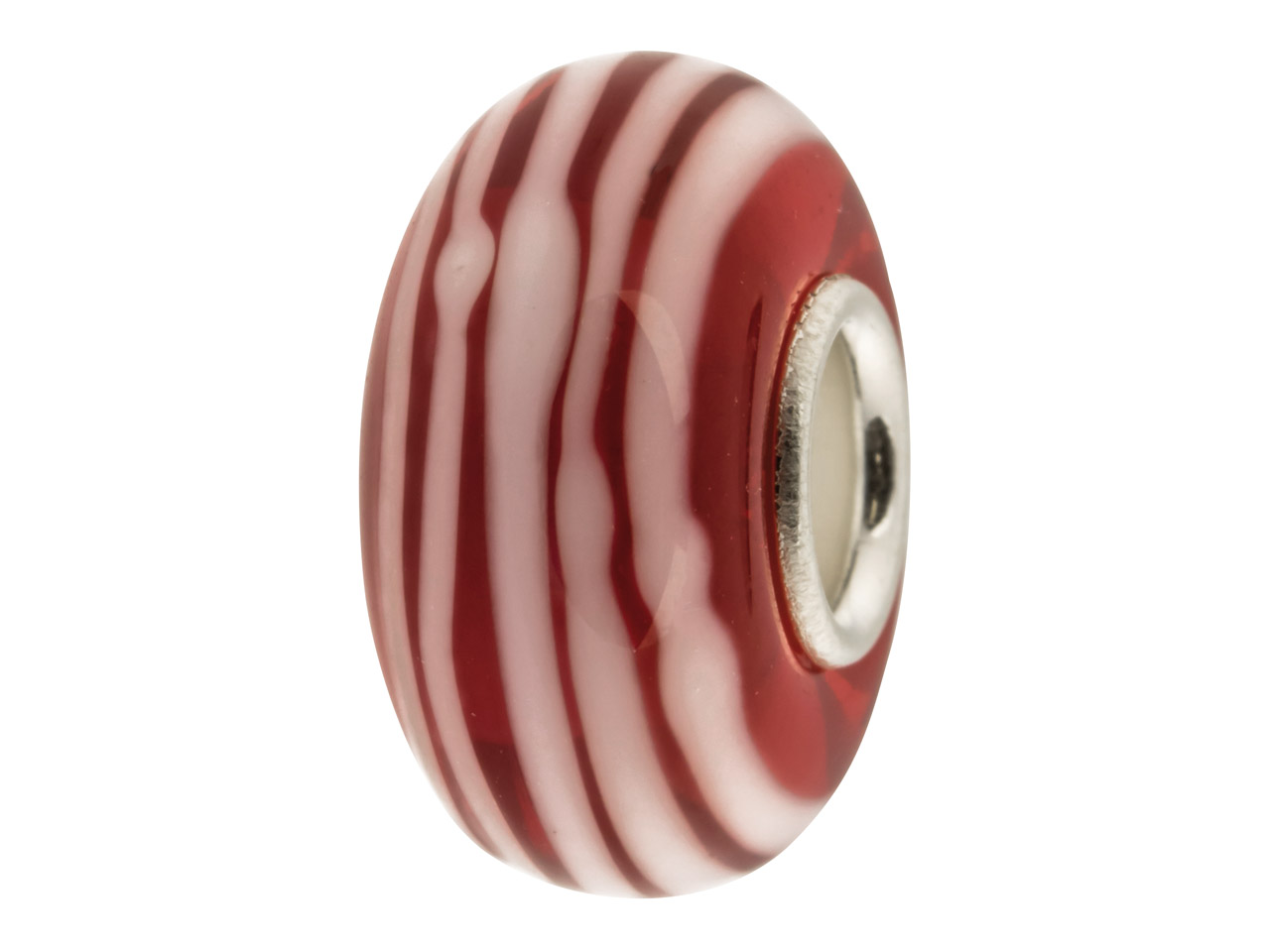 Glass Charm Bead, Red And Pink     Stripes, Sterling Silver Core