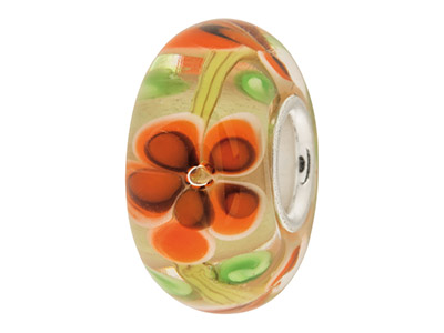 Glass-Charm-Bead,-Clear-With-Orange-F...