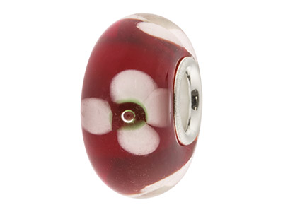 Glass Charm Bead, Red With White   Flowers, Sterling Silver Core