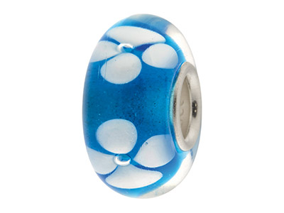 Glass Charm Bead Blue With White  Flowers Sterling Silver Core