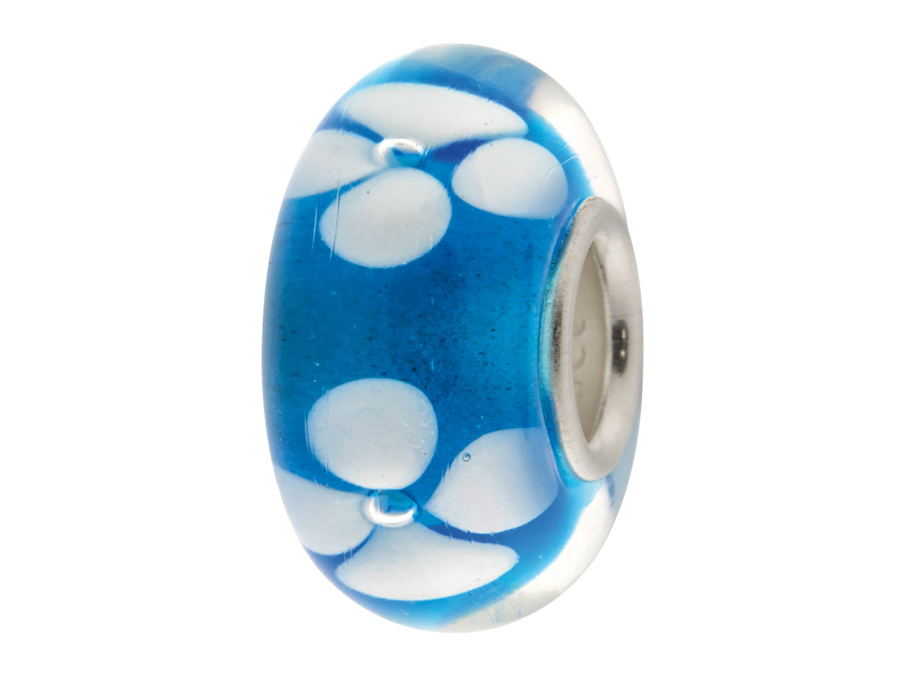 Glass Charm Bead, Blue With White  Flowers, Sterling Silver Core