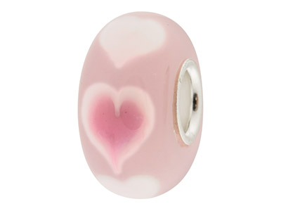 Glass Charm Bead, Pink With Pink   Hearts, Sterling Silver Core