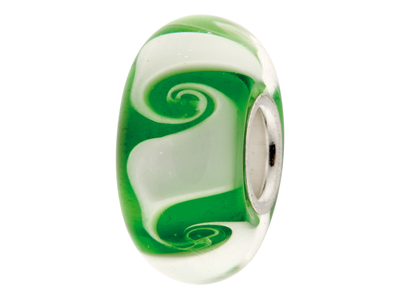 Glass Charm Bead, Green And White  Spiral Pattern, Sterling Silver    Core