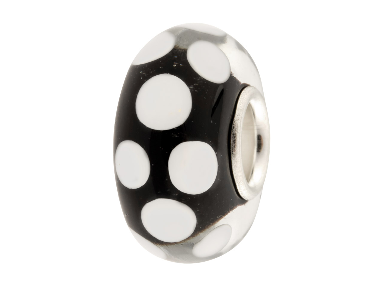 Glass Charm Bead, Black With White Dots, Sterling Silver Core