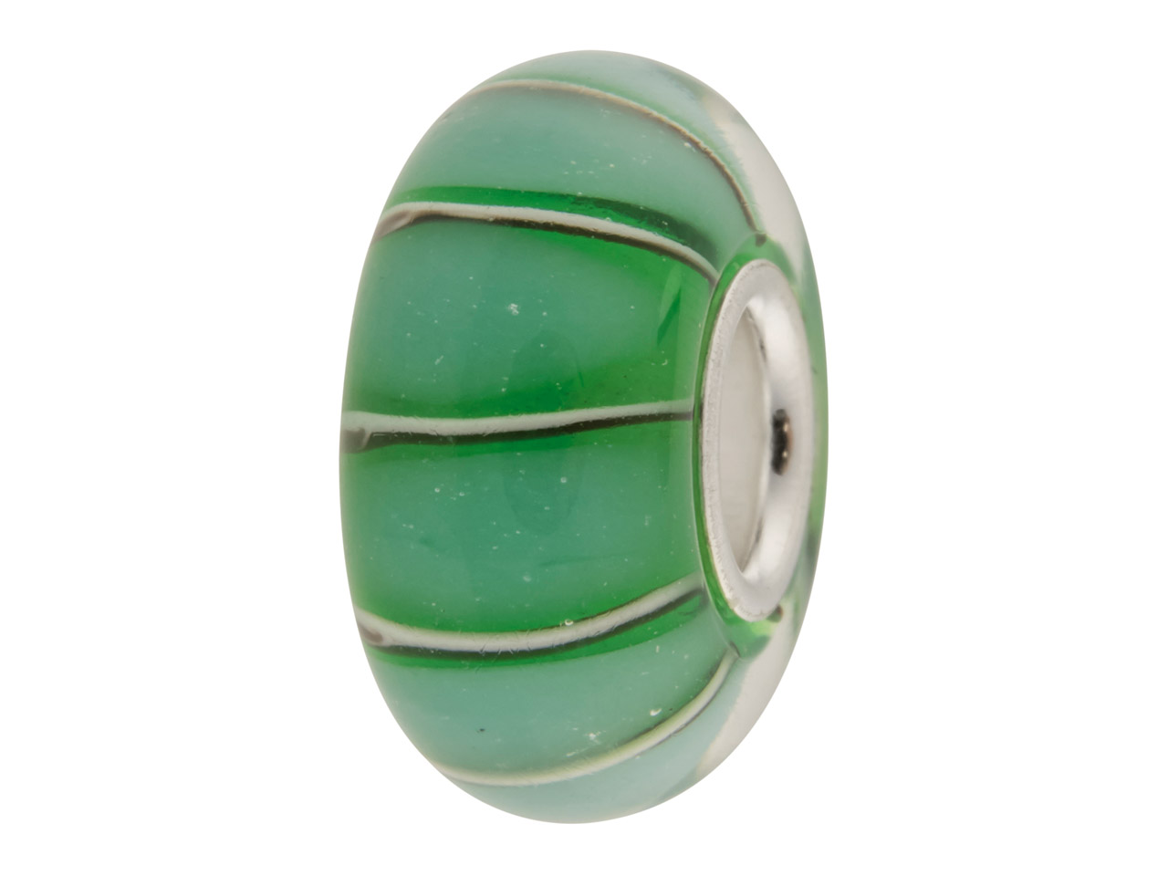 Glass Charm Bead, Green Thick      Stripes, Sterling Silver Core