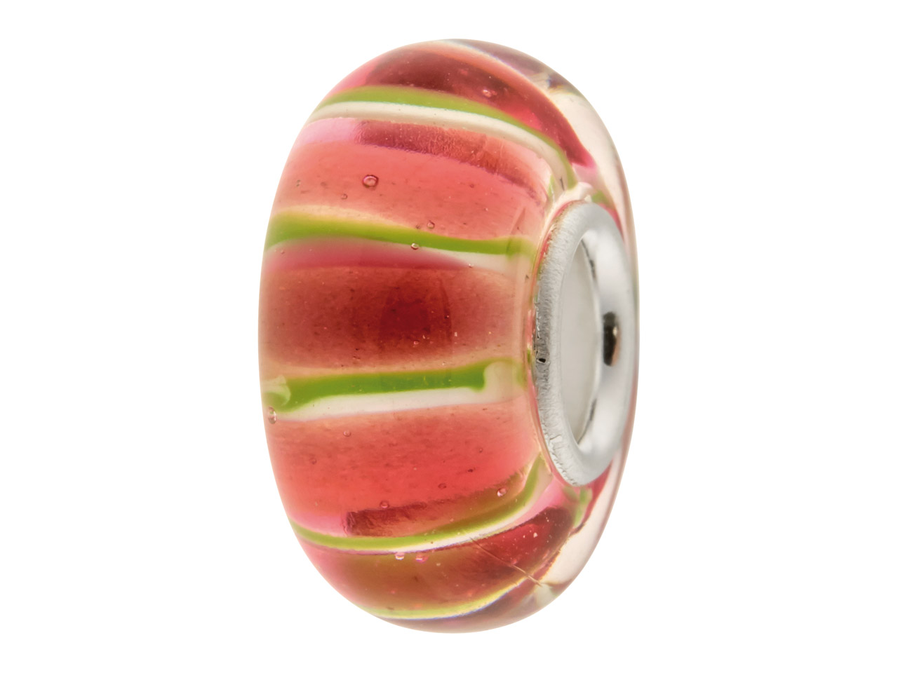 Glass Charm Bead, Pink Thick       Stripes, Sterling Silver Core