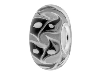 Glass Charm Bead, White With Black And White Abstract Pattern,        Sterling Silver Core