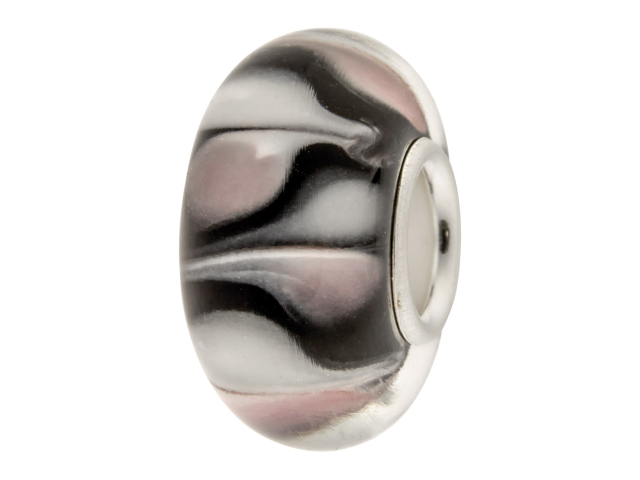 Glass Charm Bead, Black With Brown And White Large Dots, Sterling     Silver Core